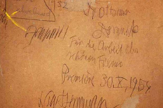 """Rückseite von """"Faust schwebend"""", Dank von Ackermann an Domnick; Foto: Stiftung Domnick."""