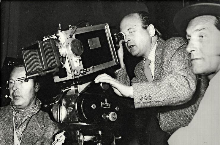 Ottomar Domnick und Andor von Barsy beim Dreh von Jonas 1957; Foto: Stiftung Domnick