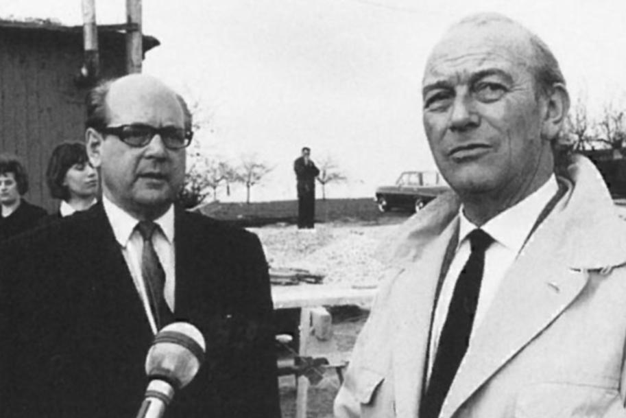 Ottomar Domnick und Paul Stohrer auf der Baustelle in Nürtingen 1967; Foto: Stiftung Domnick