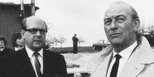 Ottomar Domnick und Paul Stohrer auf der Baustelle in Nürtingen 1967