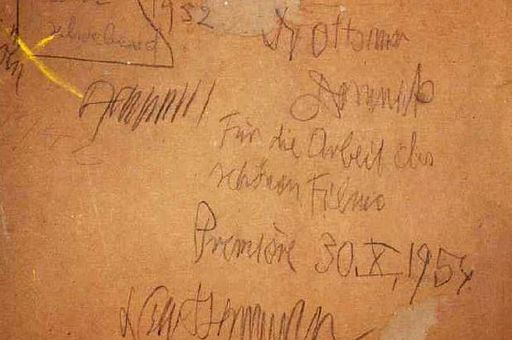 """Rückseite von """"Faust schwebend"""", Dank von Ackermann an Domnick"""